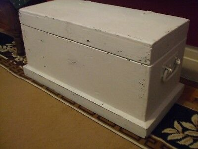 Antique, vintage painted wooden trunk, chest, tool box