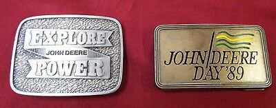 John Deere Limited Edition 1981 Explore Power & Day 1989 Belt Buckles-Lot of 2