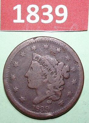 1839 Coronet Head Large Cent US COPPER COIN GOOD CONDITION HAS SOME CORROSION