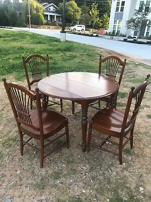 Vintage Ethan Allen Dining Room Table Set, Extendable, Mahogany, Four Chairs