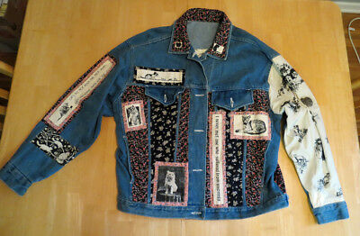 Cats ~ Patchwork Denim Jacket ~ People For The Planet By Cynthia Olin ~ Rare M/l
