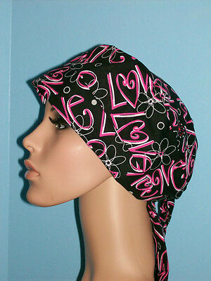 Love Valentines Day Pixie Scrub Hat Cap Surgical Medical Chef Chemo