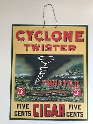 Cyclone Twister Hanging Cigar Sign