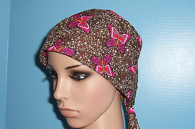 Brown Butterfly Pixie Scrub Hat Cap Surgical Medical Chef Chemo