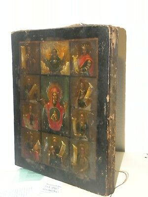 Rare Russian Orthodox Icon ikona over 100 years old painted on wooden board