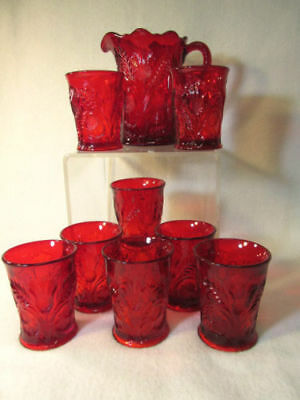 RED MOSSER WATER JUICE LEMONADE PITCHER and TUMBLERS INVERTED THISTLE PATTERN