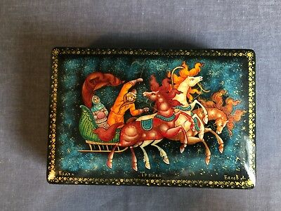 Vintage Hand Painted Russian Wooden Black Jewellery Lacquer Box