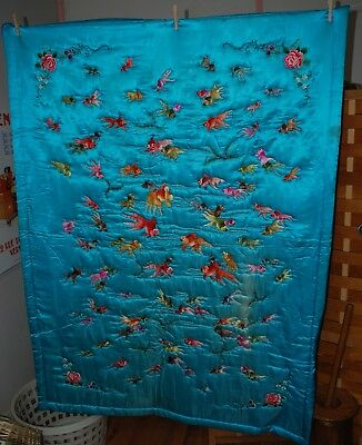 Vintage Japanese Embroidered Quilt Blanket Wall Hanging Koi Goldfish Marigold