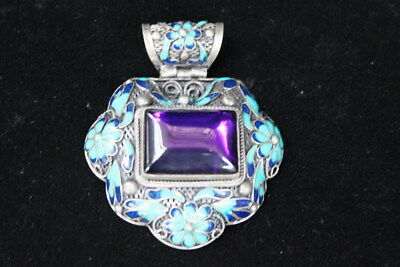 Chinese Exquisite Miao Silver Carve Flowers Inlay Blue Crystal Beautiful Pendant