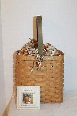 2003 Longaberger Autumn Tote Basket, Protector, Fabric,card