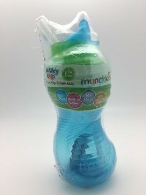 Munchkin Sippy Cup with Flip Straw No Spill 10 oz Blue Green
