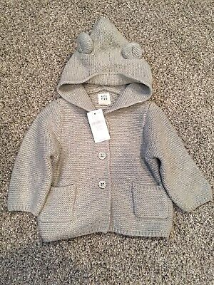 Baby Gap Knit Hooded Sweater, Gray 0-3 Months