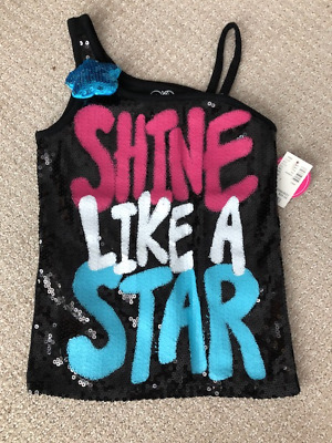 "JUSTICE NWT Girls ""Shine Like a Star"" Black Sequence Tank Size 7 $29"