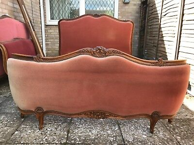 Antique Lit Capitonne French original double bed stunning woodwork