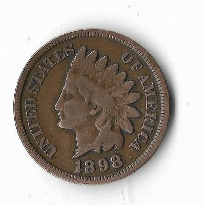 Rare Very Old Antique US 1898 Indian Head Penny USA Collection Nice Coin Cent 98