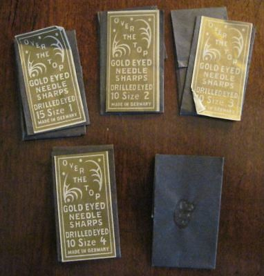 Antique Over the Top Gold Eyed Needles Sharps 5 Pkgs Sz 1,2,3,4 Made in Germany