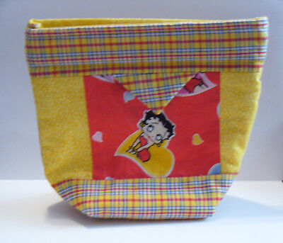 Betty Boop Clutch Purse Make up bag Pouch applique Handmade Yellow Red Plaid