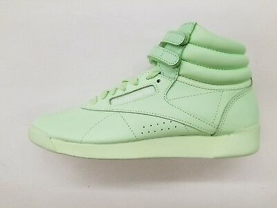 0a4fa6a9c8b Reebok Freestyle Hi Colors Lime Glow Green White Womens Size Sneakers Bs9369