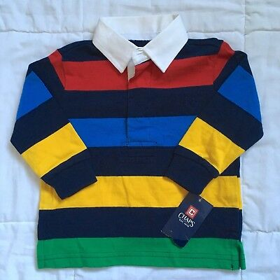 NWT Chaps colorblock polo Sz 12M long sleeve red blue green yellow