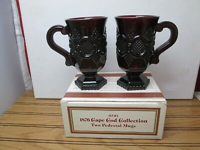 Avon Cape Cod 1876 Ruby Red Glass Pedestal Mugs Cups Vintage Set of 2