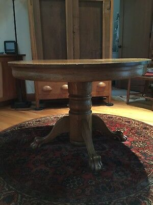 Antique Oak Lion's Clawfoot Dining Table