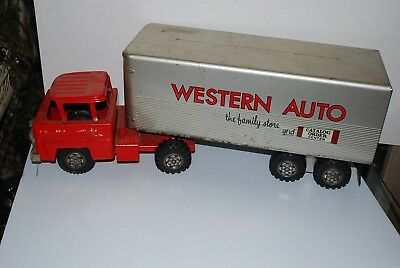 """Vintage Marx Pressed Steel Western Auto 1950s Delivery Truck Tractor Trailer 25"""""""