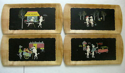 Kentley French Poodle Trays Set 4 Vtg 1950s Romance Of Fifi And Pepe Mid Century
