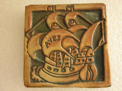 Old 1930's U.S. Tile by Moravian Pottery & Tile Works - Pennsylvania - Aves