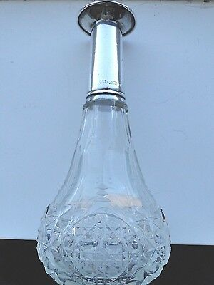 Antique Large Tall Cut  Glass - Silver Top Perfume Bottle