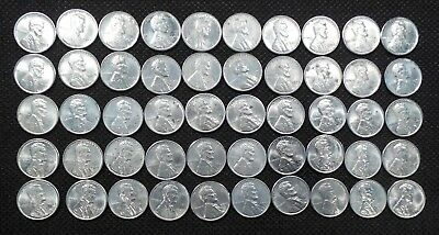 1943 D HIGH GRADE  Lincoln Wheat Cent Roll- 50 coins