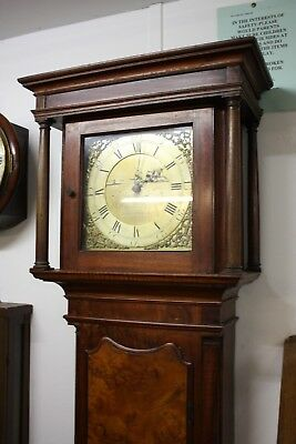 BRASS DIAL LONGCASE CLOCK WALNUT AND OAK CASE Wllm Dyer Barnstaple Devon  c1760