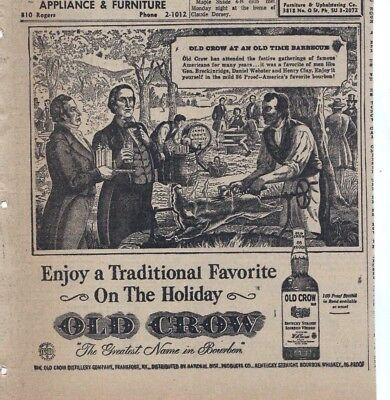 1957 newspaper ad for Old Crow Bourbon - BBQ with Webster, Clay & Breckenridge