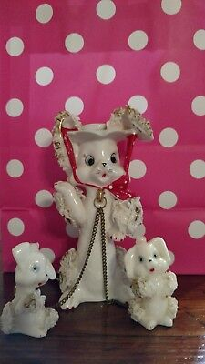 Vintage Momma Spaghetti Poodle With Two Babies On Leash Chain