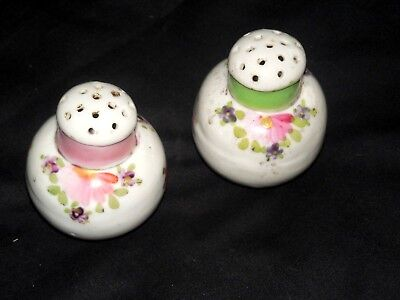 Antique Hand Painted Roses Porcelain Round Salt And Pepper Shakers