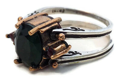 BYZANTINE .925 SILVER CHANGEABLE RING STYLE #2 with PRECIOUS RED & GREEN STONES