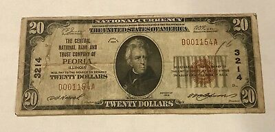 Peoria Illinois, Central National bank, 1929 $20 ,  t-1 , Fine