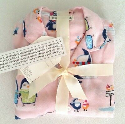Pottery Barn Kids Icy Penguin Pajama Size 3 T Flannel Pink Girls Toddler NWT