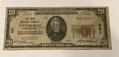 Pittsburgh Pennsylvania , third  National bank of , 1929 $20 ,  t-1 , Fine