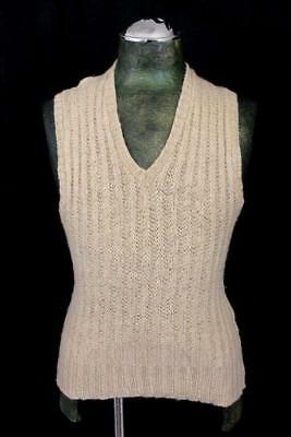 vintage 40s mens brown tan WELGRUME sportswear v-neck sweater vest wool retro S