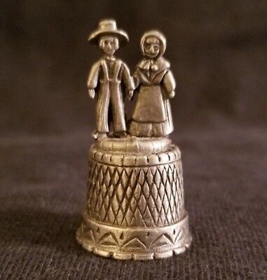 Pewter Thimble Amish Couple Mennonite Man And Woman Vintage Sewing Collectable