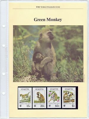 St. Kitts  1986  WWF, Green Monkey, MNH + 4 FDCs.