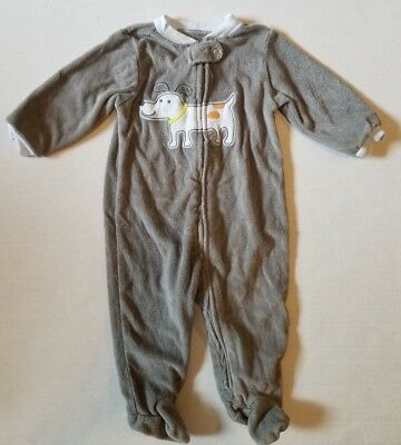 Carter's Gray Terrycloth Puppy Dog LS Footed Sleeper Pajamas Boys 6 Months