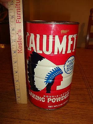 Vtg Calumet Baking Powder Tin Red 5 pounds Advertising