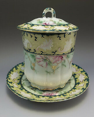 Antique Hand Painted Porcelain Jam Jar Dark Teal Pink Flowers Plate
