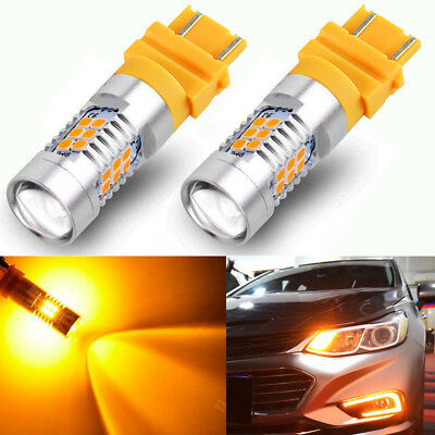2x Bright 3157 3000K AMBER Yellow 21-SMD Chip LED Signal Side marker Light Bulbs