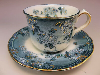 Antique English Ridgway Pottery Demitasse Tea Cup Saucer Set Flowers Blue Gold