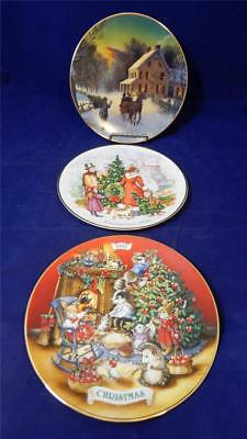 1988 1990 1992 Avon Porcelain 22K Gold Trimmed Collectible Christmas Plates EUC