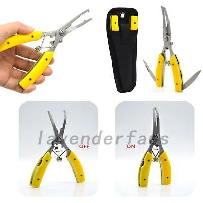 Fish Fishing Pliers Scissors Cutters Removers Tackles with Nylon Sheath Tool AU