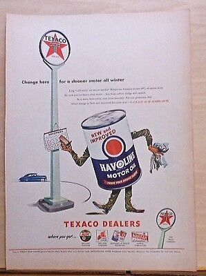 "1946 magazine ad for Havoline Oil - ""human"" oil can service attendant, Winter"