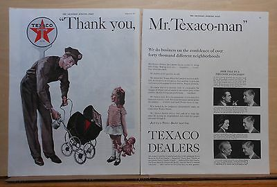 1937 two page magazine ad for Texaco - Station attendant oils toy baby buggy